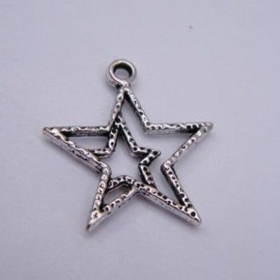 Detailed Double Star Outline Wine Glass Charm - Full Bead Style